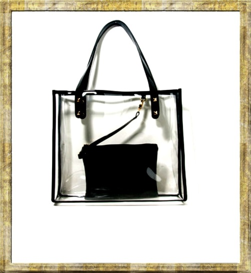 forever 21 Studded Clear Tote black