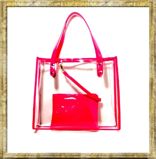 forever 21 Studded Clear Tote pink