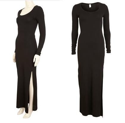 vila_black_maxi_slitted_dress