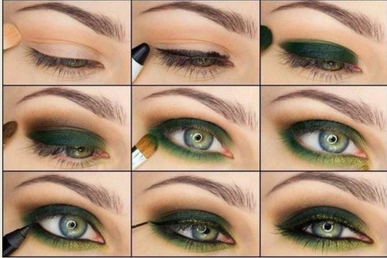 Макияж для зеленых глаз пошаговое фото маленьких глаз