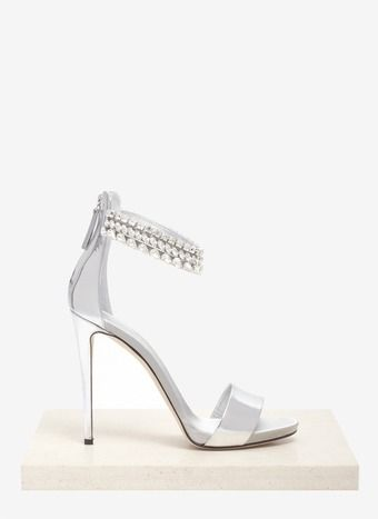 Giuseppe Zanotti Crystal Embellished Metallic Sandals White wedding shoes